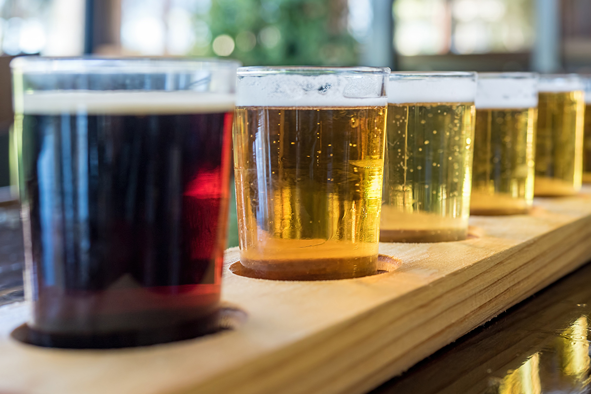 Close view of beer flight